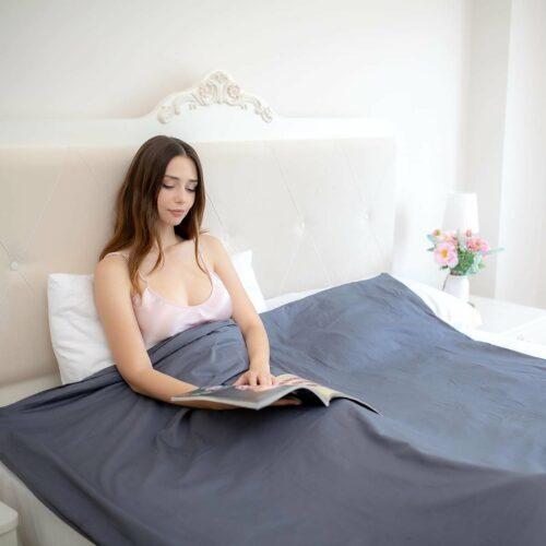 Beckasin Tyngdtäcke 12 kg Grå Bomullssatin – Fritt från polyester