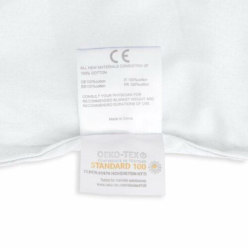 Tyngdtäcke 5 kg Vit Bomullssatin – Fritt från polyester