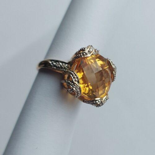 Vintage Ring Guld 14K med facettslipad Citrin och Diamanter
