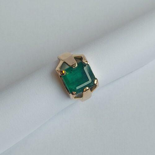 Vintage Ring 18K Guld med Naturlig Smaragd 4,24 ct
