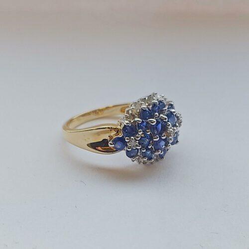 Vintage Ring 14K Guld med Safirer och Diamanter