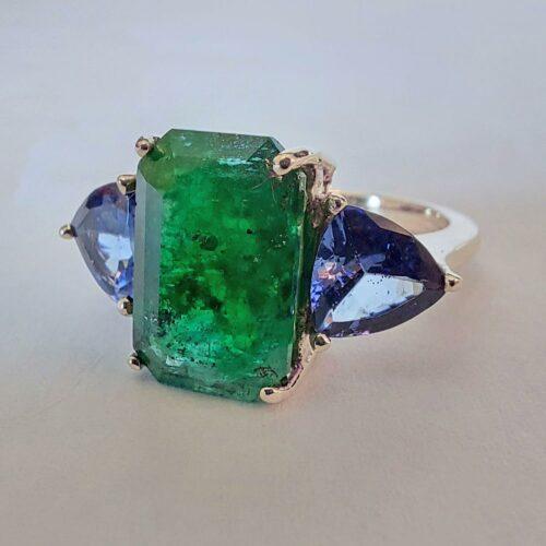 Vintage ring i 14K Guld med Smaragd och Tanzaniter