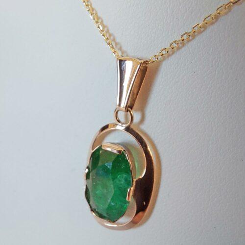 Vintage Halsband i 18K Guld med Smaragd