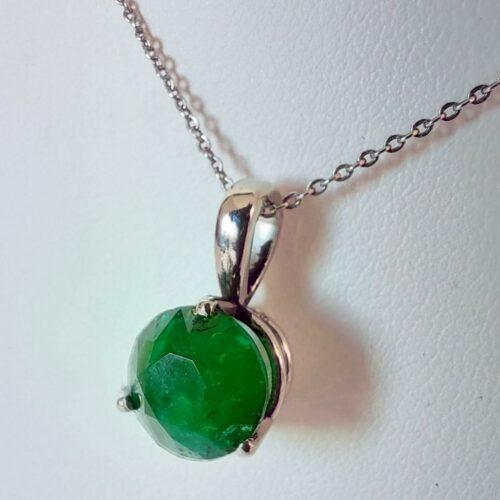 Vintage Halsband i 18K Vitguld med Smaragd